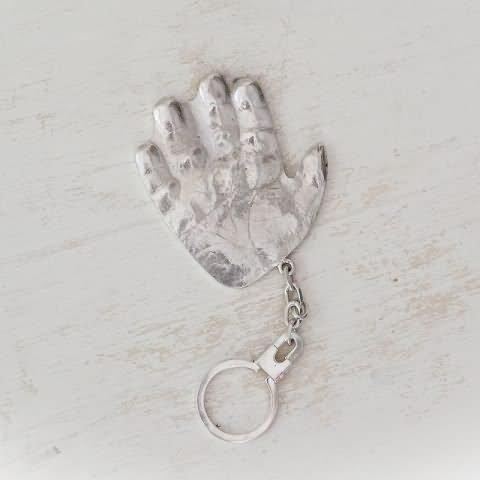 Llavero con la Huella del pie o la mano de tu bebé